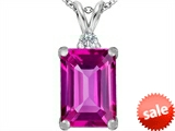 Original Star K™ Large 14x10mm Emerald Cut Created Pink Sapphire Pendant