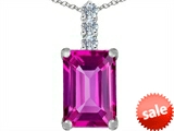 Original Star K™ Large 14x10mm Emerald Cut Created Pink Sapphire Pendant style: 307640