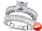 Original Star K™ 7mm Square Cut Genuine White Topaz Engagement Wedding Set style: 307641