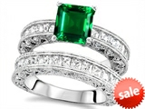 Original Star K™ 7mm Square Cut Simulated Emerald Engagement Wedding Set style: 307642