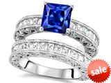 Original Star K™ 7mm Square Cut Created Sapphire Engagement Wedding Set style: 307644
