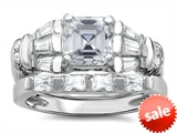 Original Star K™ 6mm Square Cut Genuine White Topaz Engagement Wedding Set style: 307645