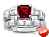 Original Star K™ 6mm Square Cut Created Ruby Engagement Wedding Set style: 307646