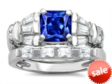Original Star K™ 6mm Square Cut Created Sapphire Engagement Wedding Set style: 307647