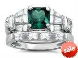 Original Star K™ 6mm Square Cut Simulated Emerald Engagement Wedding Set