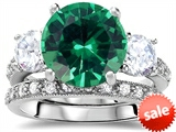 Original Star K™ Large 10mm Round Simulated Emerald Engagement Wedding Set style: 307649