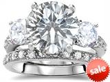 Original Star K™ Large 10mm Round Genuine White Topaz Engagement Wedding Set style: 307650