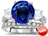 Original Star K™ Large 10mm Round Created Sapphire Engagement Wedding Set