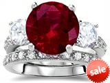 Original Star K™ Large 10mm Round Created Ruby Engagement Wedding Set