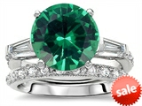 Original Star K™ Large 10mm Round Simulated Emerald Engagement Wedding Set