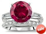 Original Star K™ Large 10mm Round Created Ruby Engagement Wedding Set style: 307655
