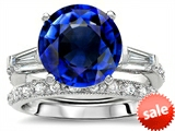 Original Star K™ Large 10mm Round Created Sapphire Engagement Wedding Set style: 307656