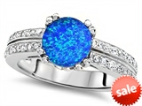 Original Star K™ Round 7mm Simulated Blue Opal Engagement Wedding Ring style: 307658