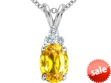 Tommaso Design™ 8x6mm Oval Genuine Yellow Orange Sapphire and Diamond Pendant