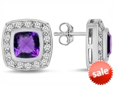 Original Star K™ 7mm Cushion Cut Simulated Amethyst Earrings Studs style: 307665