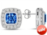 Original Star K™ 7mm Cushion Cut Simulated Blue Topaz Earrings Studs style: 307666
