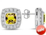 Original Star K™ 7mm Cushion Cut Simulated Citrine Earrings Studs style: 307667