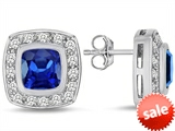 Original Star K™ 7mm Cushion Cut Created Sapphire Earring Studs
