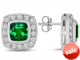 Original Star K™ 7mm Cushion Cut Simulated Emerald Earrings Studs style: 307669