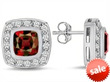Original Star K™ 7mm Cushion Cut Simulated Garnet Earrings Studs style: 307670