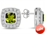 Original Star K™ 7mm Cushion Cut Simulated Peridot Earring Studs