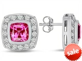 Original Star K™ 7mm Cushion Cut Created Pink Sapphire Earring Studs