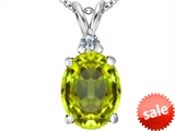 Original Star K™ Large 14x10mm Oval Simulated Peridot Pendant