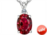 Original Star K™ Large 14x10mm Oval Created Ruby Pendant