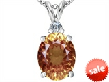 Original Star K™ Large 14x10mm Oval Simulated Imperial Yellow Topaz Pendant style: 307681