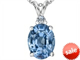 Original Star K™ Large 14x10mm Oval Simulated Aquamarine Pendant