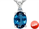 Original Star K™ Large 14x10mm Oval Simulated Blue Topaz Pendant
