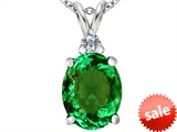 Original Star K™ Large 14x10mm Oval Simulated Emerald Pendant style: 307686