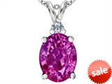 Original Star K™ Large 14x10mm Oval Created Pink Sapphire Pendant