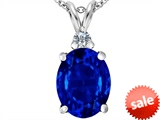 Original Star K™ Large 14x10mm Oval Created Sapphire Pendant style: 307688