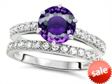 Original Star K™ Round 7mm Genuine Amethyst Engagement Wedding Ring style: 307691