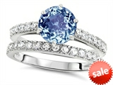Original Star K™ Round 7mm Simulated Aquamarine Engagement Wedding Ring style: 307692