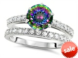 Original Star K™ Round 7mm Rainbow Mystic Topaz Engagement Wedding Ring style: 307698