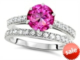 Original Star K™ Round 7mm Created Pink Sapphire Engagement Wedding Ring