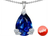 Original Star K™ Large 17x11mm Pear Shape Created Sapphire Designer Pendant