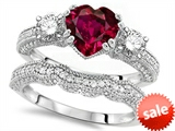 Original Star K™ Heart Shape 7mm Created Ruby Engagement Wedding Set style: 307709