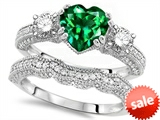 Original Star K™ Heart Shape 7mm Simulated Emerald Engagement Wedding Set style: 307711
