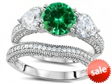 Original Star K™ Round 7mm Simulated Emerald Engagement Wedding Set style: 307712
