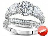 Original Star K™ Round 7mm Genuine White Topaz Engagement Wedding Set style: 307713