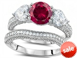 Original Star K™ Round 7mm Created Ruby Engagement Wedding Set style: 307714