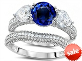 Original Star K™ Round 7mm Created Sapphire Engagement Wedding Set style: 307715