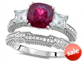 Original Star K™ Cushion Cut 7mm Created Ruby Engagement Wedding Set style: 307716