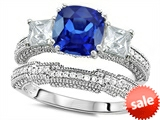 Original Star K™ Cushion Cut 7mm Created Sapphire Engagement Wedding Set style: 307717