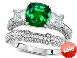 Original Star K™ Cushion Cut 7mm Simulated Emerald Engagement Wedding Set style: 307718