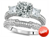 Original Star K™ Cushion Cut 7mm Genuine White Topaz Engagement Wedding Set style: 307719