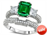 Original Star K™ Emerald Cut 8x6mm Simulated Emerald Engagement Wedding Set style: 307720
